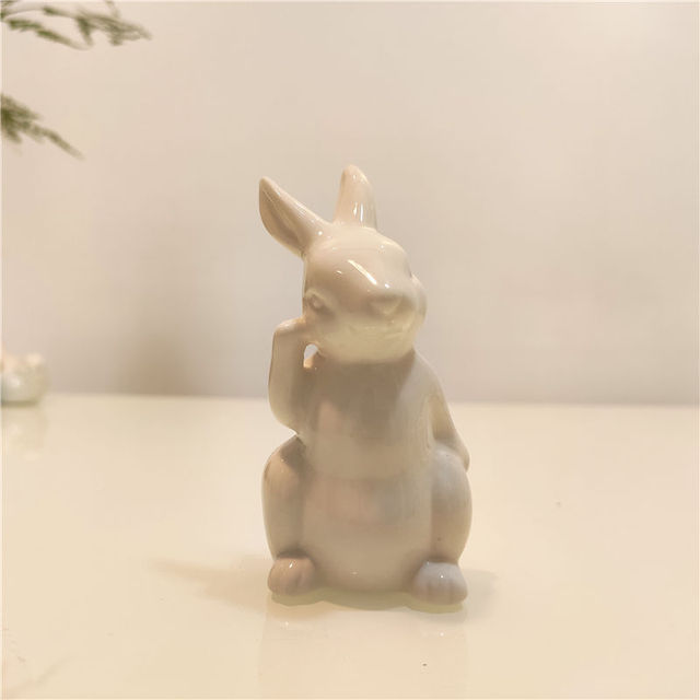 Ceramic Cute Pure White Rabbit Figurines Porcelain Table Home Decoration China Gift Modern Statue Handmade furnishings DHYY05 4