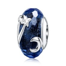 Jiayiqi 925 Sterling Silver Charms Moon Planet Star Glass Beads Fit Pandora Bracelets Silver 925 DIY Jewelry Making Women Gift(China)