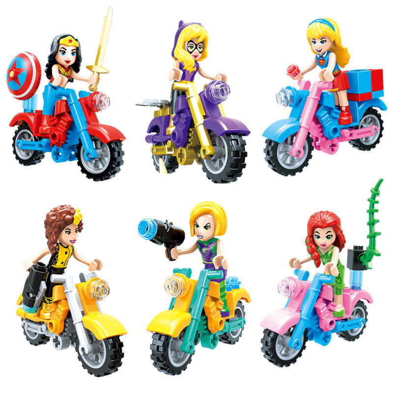 Super Heroes Avengers Girl Motorcycle Chariot Wonder Woman Poison Ivy Batman Superman Movie Figures Girls Building Blocks Toys