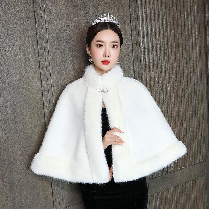 Wedding Bridal Jacket Women Bolero Wedding Dress Shawl Women's Autumn And Winter Super Fairy Bride Thickening Warm Versatile