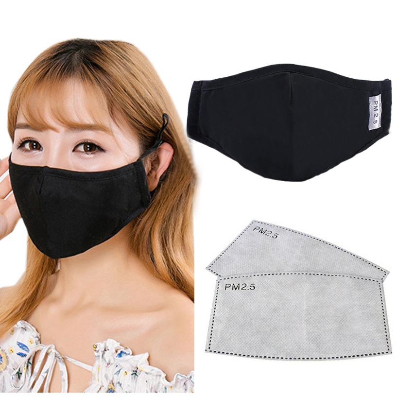 Cotton PM2.5 Black Mouth Mask Anti Dust Pollution Mask Activated Carbon Filter Mouth-muffle Bacteria Proof Flu Face Masks