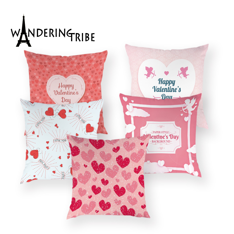 Happy Valentine Day Decoration Cushion Cover Polyester Heart Love Pillow Case Cartoon Colorful Home Decor Wedding Gift Almofadas