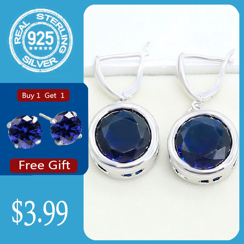 Round Blue Sapphire 925 Silver Earrings for Women Party Birthday Jewelry Free Gift