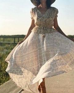 Image 5 - שיק היפי נשים מדבר פרחוני מודפס שרוך אלסטי מותן בוהמי מקסי חצאיות גבירותיי ריון סימטרי boho חצאית