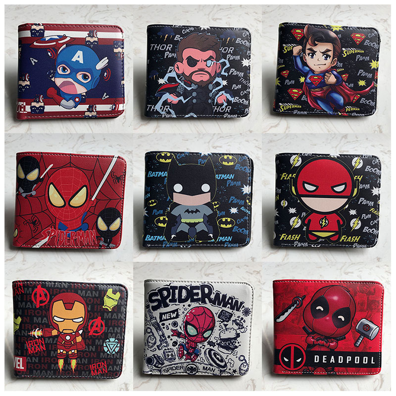 New Arrival Comic Captain Marvel The Flash Superman Deadpool Spiderman Ironman Short Wallet Card Holder Purse Coin Pocket