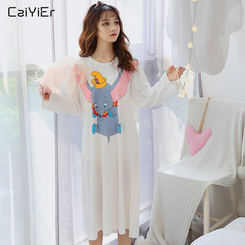 Caiyier Cotton Nightgown Cute Cartoon Dumbo Rainbow Print Night Dress Autumn Winter O-Neck Night Skirt Causal Short Sleeve Dress