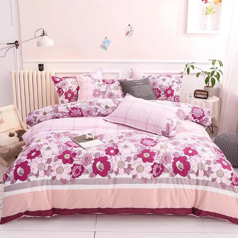 Pink Flowers 4pcs Bedding Set Winter Four Pieces One Quilt Cover One Bed Sheet Two Pillowcases Duvet Cover Bed Set