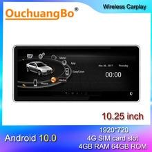 Ouchuangbo 안드로이드 10 자동차 라디오 멀티미디어, 10.25 인치 A5 S5 A4L A4 B8 MMI 2G 2004 2008 2009 스테레오 gps 헤드 유닛 128GB