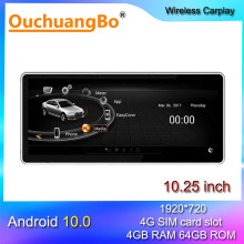 Ouchuangbo android 10 car radio multimedia for 10.25 inch A5 S5 A4L A4 B8 MMI 2G  2004 2008 2009 stereo gps head unit 128GB