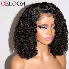 Curly Short Bob Wig Human Hair Wigs 4*4 Lace Closure Wig Deep Wave Pre plucked Brazilian Hair Wigs for Women Kinky Curly Wig