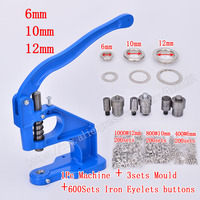 Jeans/Rivets/Eyelets/Snap buttons Sew repair machine.1Pc Hand Press Eyelet Installation Machine with 3Dies And 600sets Grommets