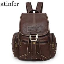 Водонепроницаемый рюкзак из мягкой искусственной кожи на шнурке для женщин, ранец для студентов колледжа, школьные винтажные Женские Ретро сумки для книг
