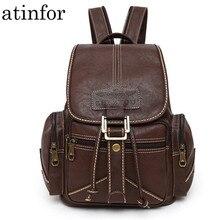 Su geçirmez yumuşak PU deri sırt çantası kadın İpli sırt çantası koleji öğrenci okul sırt çantaları Vintage kadın Retro sırt çantası