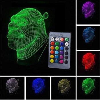 7 Colour 3D LED Night Light Shrek Cartoon Touch Swift Table Desk Bed Lamp Gifts