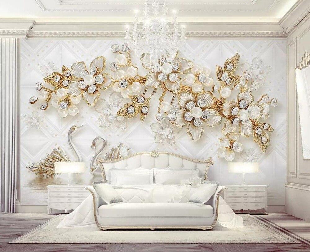CJSIR Wallpaper Luxury Flower Soft Bag 3d Swan Jewellery TV Background Wall Home Decoration Living Room Bedroom 3d Wallpaper