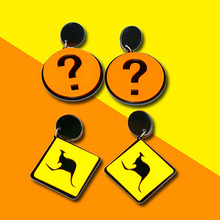 New Korean Acrylic Square Geometric Kangaroos Question Mark Long Earrings For Women Girl Rock Night Club Fashion Jewelry Gifts подтяжки club mark