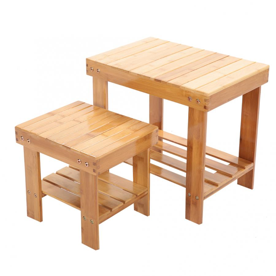 Portable Heavy Duty Bamboo Multi Purpose Step Stool Child Seat With Under Shelf Child Seat