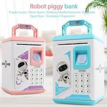 Hucha electrónica con Sensor de huella dactilar para niños, caja de dinero en efectivo con diseño de dibujos animados, con historia musical automática, regalo para niños