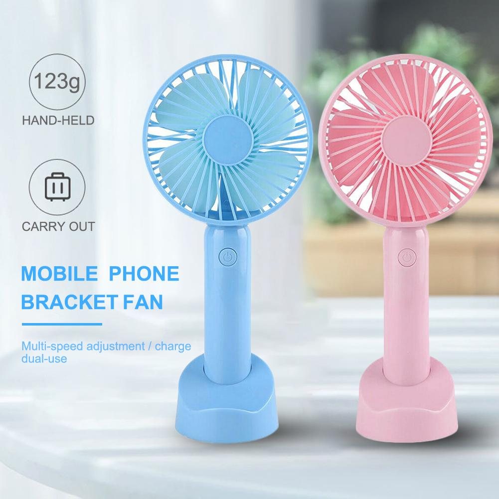 USB Mini Handheld Fan Rechargeable Portable Battery Fan With Mobile Phone Holder Base 2600Mah Battery 8H Battery Life 3 Modes Fo