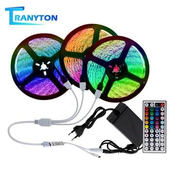 цена на LED Strip Light RGB 5050 SMD 2835 Flexible Led Light Strip 5M 10M 15M Waterproof Tape DC12V Strip+Power Adapter+Remote