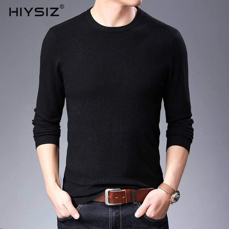 HIYSIZ New 2019 Sweater Male Autumn Winter Casual Solid Leaf Pattern Streetwear O-Neck Long Sleeves Fashion Brand Pullover SW023