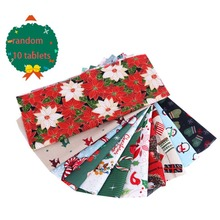 5/10 Pcs Christmas Cotton Fabric Bundles Sewing Square Patchwork Precut Scraps For DIY Stocking Tree Wreath Doll Dress