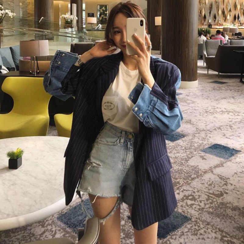 Lanmrem Biru Tua Lengan Panjang Denim Jahitan Warna Single-Breasted Blazer Femme Jaket Fashion 2020 Mantel Baru TD253