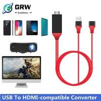 GRWIBEOU-convertidor Usb para Lightning a Mirroring, Cable Av, adaptador de teléfono a Hdtv Universal para Iphone, Android, usb-c