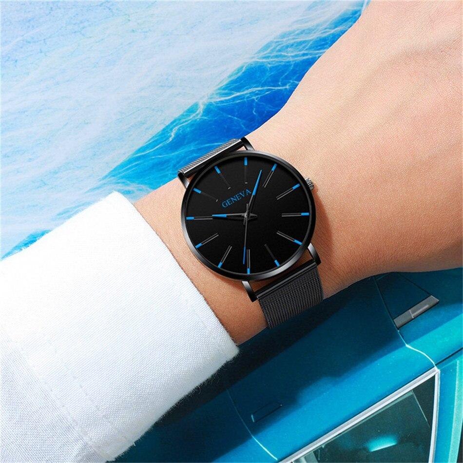 Minimalist Men's Fashion Ultra-thin Watch Simple Men's Business Stainless Steel Mesh Belt Quartz Watch Relogio Masculino