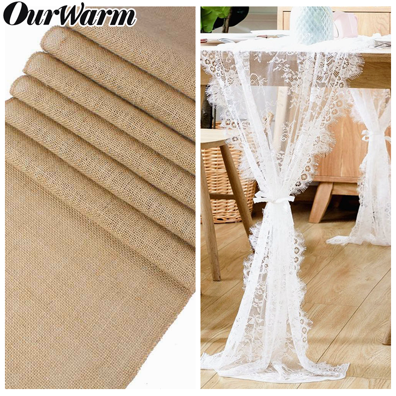 OurWarm Lace Table Runner Wedding Party Burlap Natural Jute Imitated Linen Rustic Table Decoration Home Table Cloth