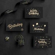 6 pçs/lote Resto de Luxo Folha de Ouro Cartões de Visita Obrigado Cartões com Envelope e Selo Postal para Presente de Aniversário