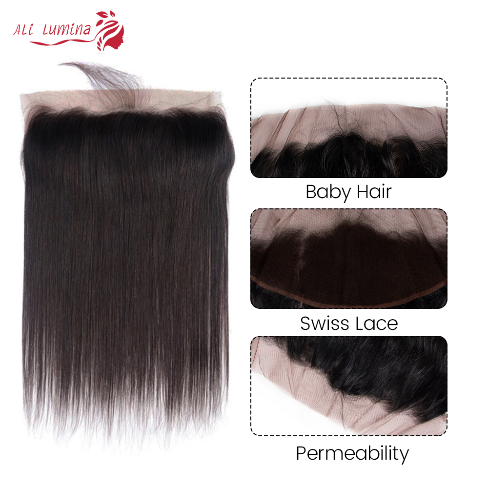 Straight  Lace Frontal Closure 13x4 Swiss Lace 100% Human  Hair Natural Hairline 4X4 Lace Closure 5
