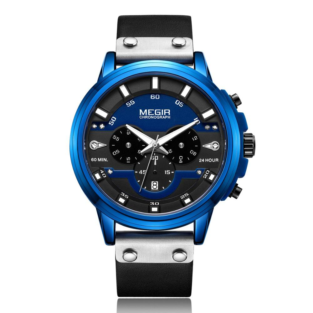 MEGIR Watches Sports appearance Fashion multi function calendar timing leather strap male quart watch 2080 in Quartz Watches from Watches