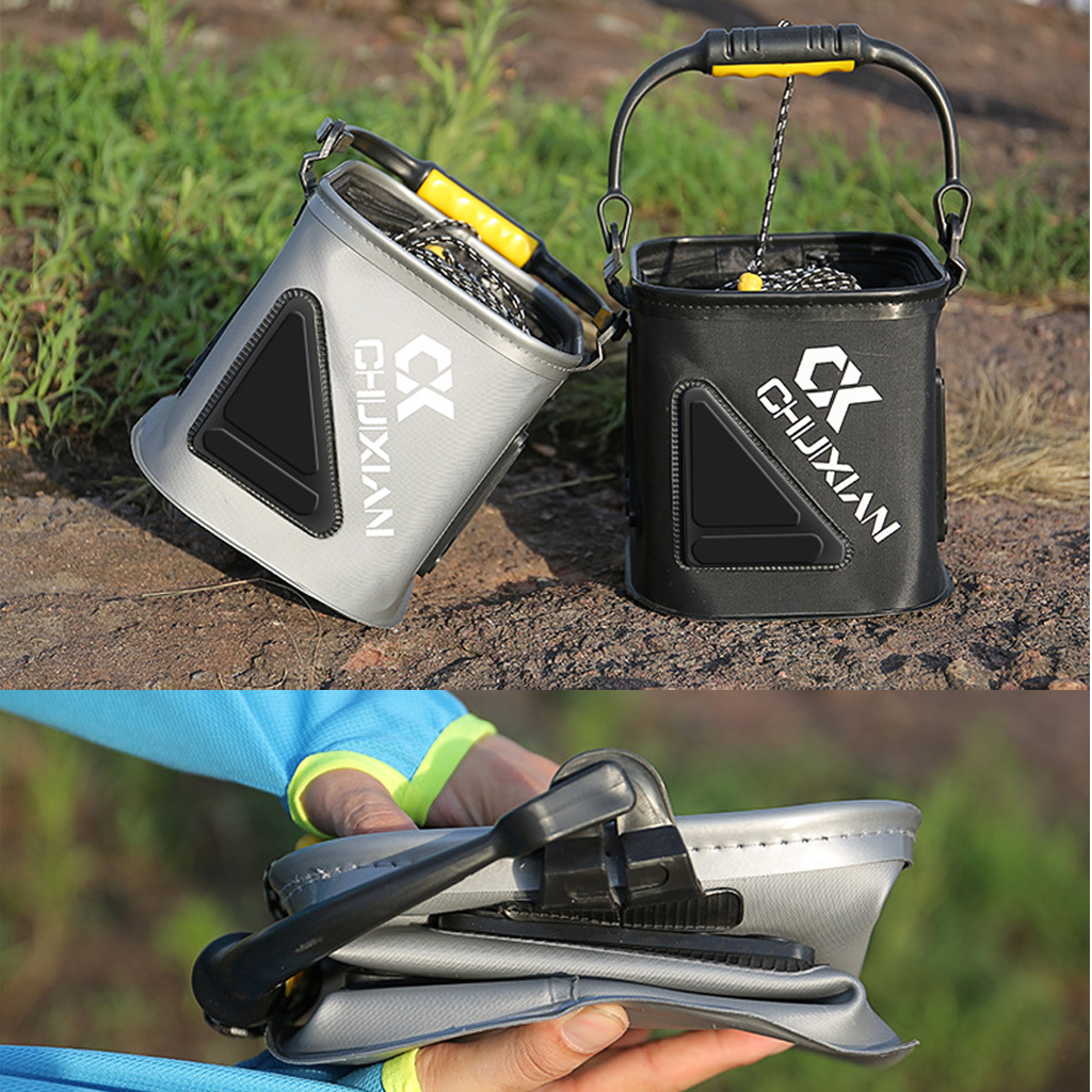 Portable Foldable Fishing Bucket Camping Picnic Car Storage Water Bucket with Mesh Lid 5m Rope Outdoor Fishing Basket Tackles|Fishing Tools| |  - title=