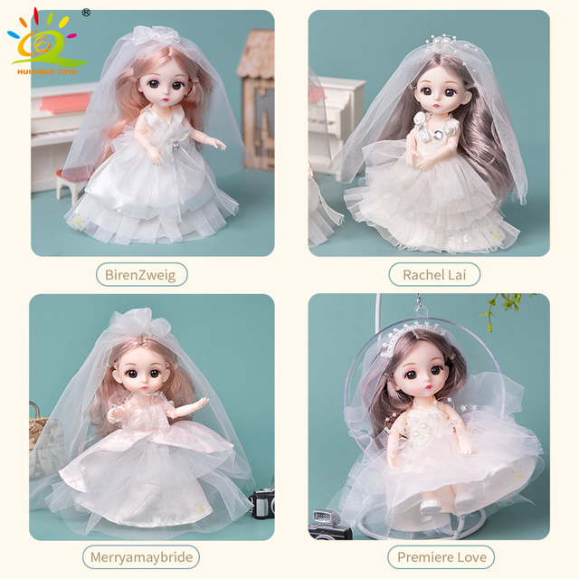 6pcs 5.9inch 13 Moveable Fashion bjd Boneca Dolls Joint body Ball Jointed Reborn Wedding Dress Make Up Dolls Toys Gift For Girls 3