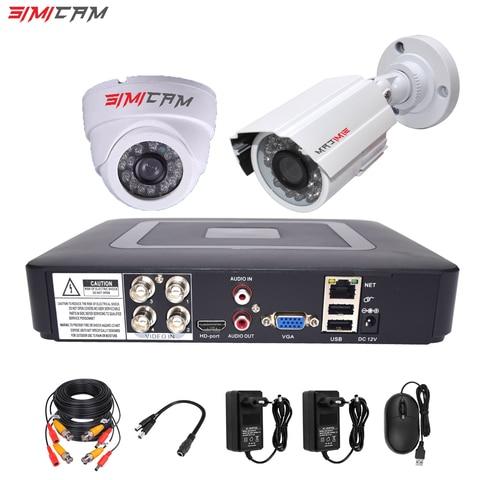 4ch dvr cctv sistema 2 pces cameras 1080 p 2mp 4ch 5 em 1 dvr