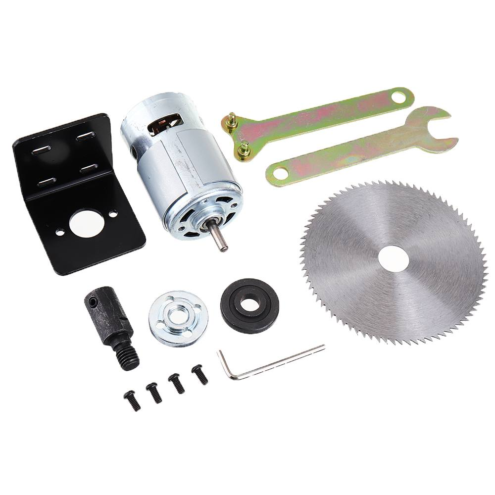 1PC DC 12V 795 Motor Table Saw Kit with Mounting Bracket and Saw Blade for Woodworking Cutting Polishing Engraving Tool