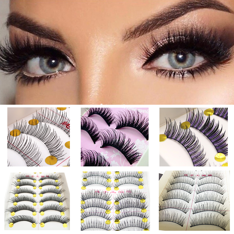 10pair Natural False Eyelash Extension Wimpers Fake Eyelashes Eye Lashes Handmade Full Strip Fake Eyelashes Mink Lashes Makeup