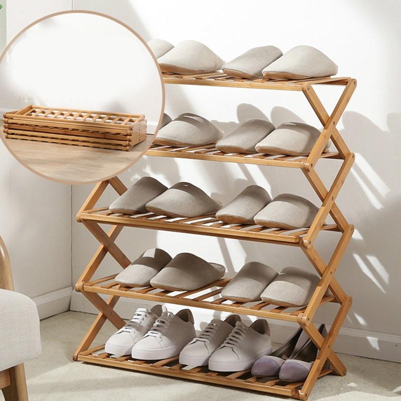 Free Installation Folding Multi-layer Shoe Rack Simple Household Economic Racks Dormitory Door Storage Rack Bamboo Shoe Cabinet