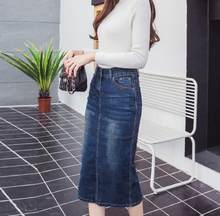 2020 Denim Skirt Vintage Button High Waist Pencil Black Blue Slim Women Skirts Plus Size S-2XL Ladies Office Sexy Jeans RQ129(China)
