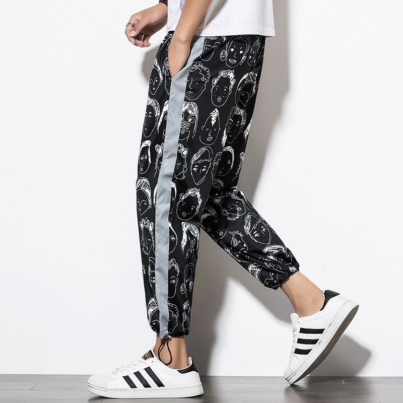 Mens Casual Pants Side Stripe Reflective Trousers Male Printing Harem Pants Men Hip Hop Cargo Joggers Pants Big Size Sweatpants