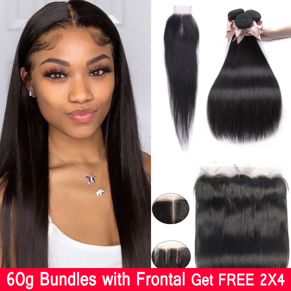 Straight Hair Bundles With Frontal 60g Branzilian Human Hair Bundles With Frontal  Beaudiva Remy Straight Hair With Closure