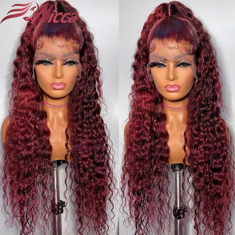 Бордовые вьющиеся парики 13x4 из человеческих волос на сетке спереди для женщин 180% темно-красные бразильские парики без повреждений на сетке ...