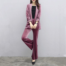 Autumn winter new woman gold velvet casual suit sets fashion