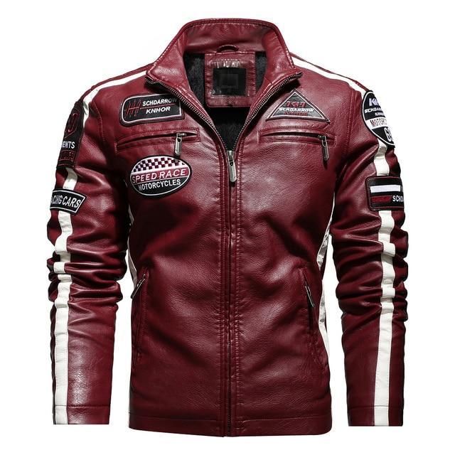Aliksada Men Autumn Winter New Fashion Motor Biker Leather Jackets Coat Men Vintage Style Patchwork PU Faux Leather Jackets Men 3
