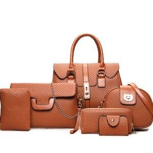 Женские сумки разных размеров, комплект из 6 предметов, сумка на одно плечо в европейском и американском стиле для женщин, сумка на плечо,