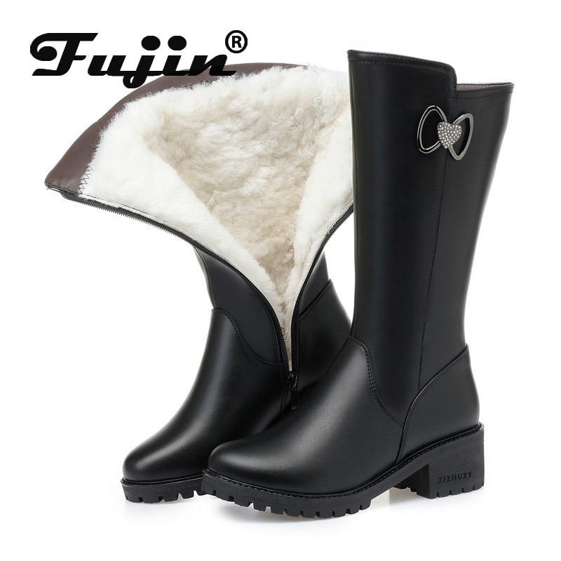 Fujin Wool Snow Boots Women Fur Warm Shoes Flat Bottom Plush High Boots Platform for Genuine Leather Warm Women Winter Boots