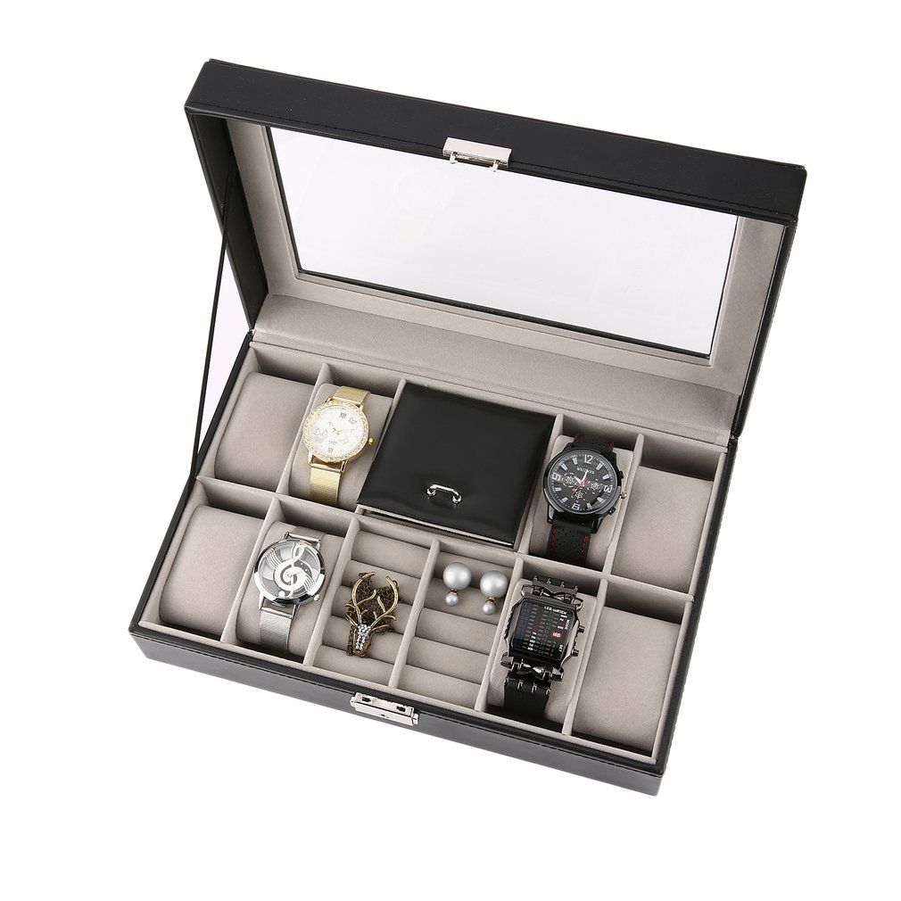 Black Leather Jewelry Storage Box holder Luxury Casket Display 2 In One 8 Grids+3 Mixed Grids Jewelry Ring Watch Box Case