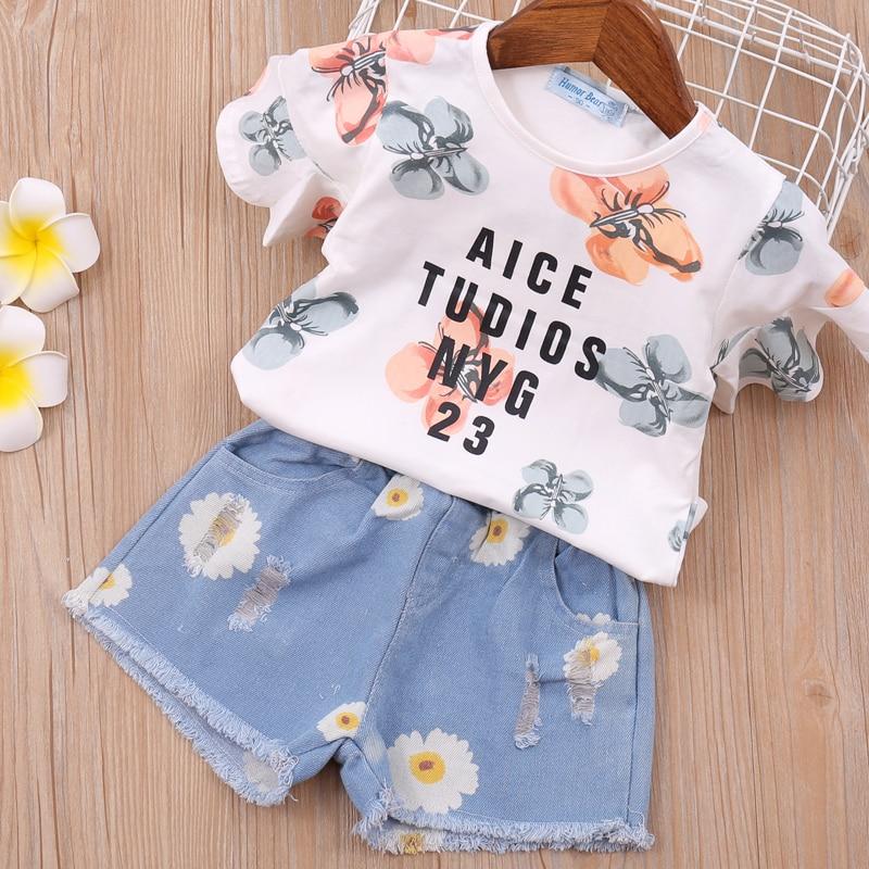2T Girls Clothes  New SUMMER Toddler Girl Sets Style Flower Collar Striped T-shirt+Denim Shorts 2 Pcs Kids Girl Sets