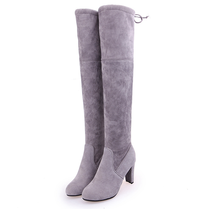 LAKESHI Fashion Suede Over The Knee Boots Women Boots Female Winter Shoes Fleece Warm High Boots Winter Sexy Thigh High Boots in Over the Knee Boots from Shoes
